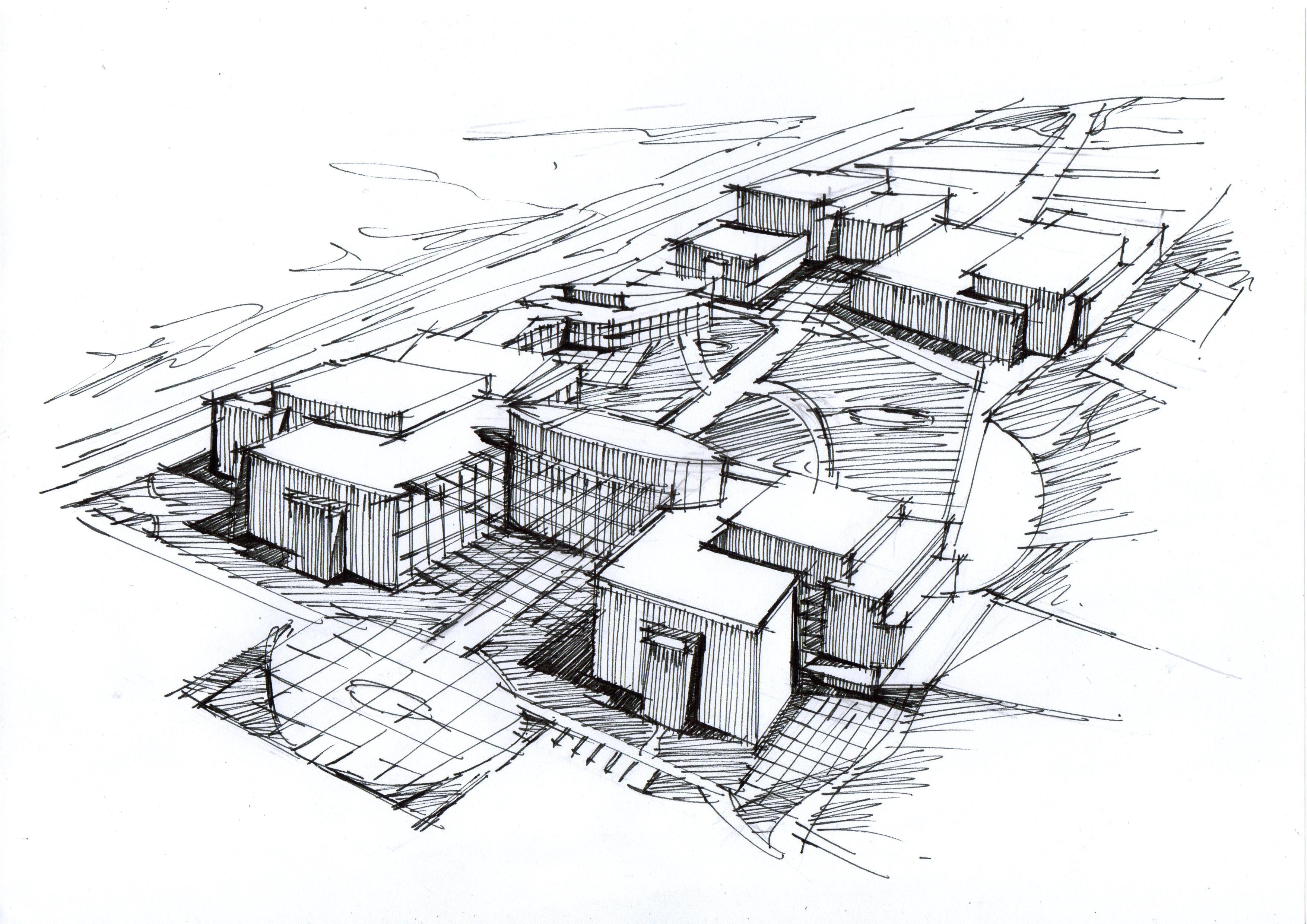 小区建筑黑白手绘